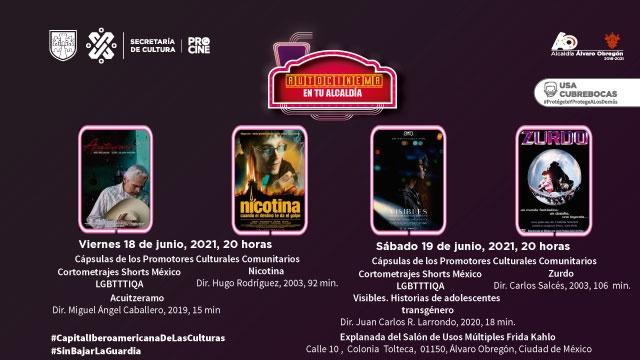 Autocinema en tu alcaldía llega a la Álvaro Obregón con cortos LGBTTTIQA de Shorts México y cine mexicano