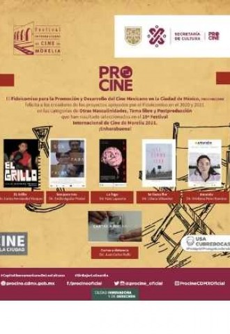 Cortometrajes apoyados por PROCINE en el 2020 y 2021 seleccionados en el  19º Festival Internacional de Cine de Morelia 2021